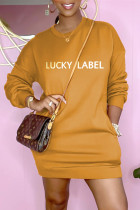 Yellow Fashion Casual Letter Embroidered Basic O Neck Long Sleeve Dresses