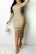 Gold Fashion Sexy Sequins Backless Turtleneck Long Sleeve Dresses