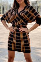 Khaki Fashion Casual Plaid Print Split Joint V Neck Long Sleeve Dresses