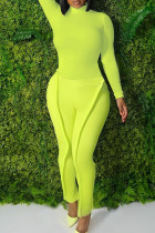 Fluorescent Green Fashion Casual Solid Split Joint Turtleneck Plus Size Two Pieces