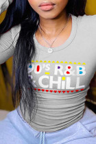 Grey Casual Daily Print Split Joint Letter O Neck Tops
