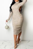 Apricot Fashion Sexy Sequins Backless Turtleneck Long Sleeve Dresses
