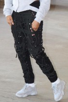 Black Fashion Sweet Adult Patchwork Draw String Pants Loose Bottoms