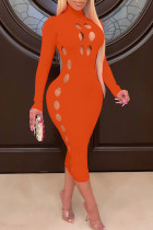 Tangerine Red Sexy Solid Hollowed Out Split Joint O Neck One Step Skirt Dresses