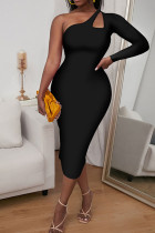 Black Sexy Solid Hollowed Out Split Joint Asymmetrical Oblique Collar One Step Skirt Dresses