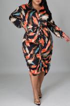 Colour Pre-sale Fashion Casual Print Basic Turndown Collar Long Sleeve Plus Size Dresses