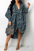 Tibetan Blue Fashion Casual Print Basic Turndown Collar Long Sleeve Shirt Dress