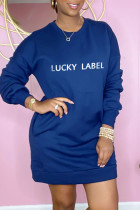 Deep Blue Fashion Casual Letter Embroidered Basic O Neck Long Sleeve Dresses