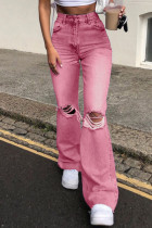 Pink Fashion Casual Solid Ripped High Waist Straight Jeans