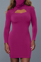 Purple Fashion Casual Solid Hollowed Out Turtleneck Long Sleeve Dresses