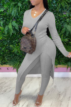 Grey Fashion Casual Solid Slit V Neck Long Sleeve Two Pieces
