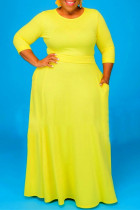 Yellow Fashion Casual Solid Basic O Neck Plus Size Two Pieces