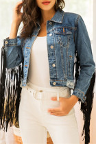 Blue Fashion Casual Patchwork Tassel Cardigan Turndown Collar Long Sleeve Regular Denim Jacket