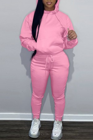 Pink Fashion Casual Solid Basic Hooded Collar Long Sleeve Two Pieces