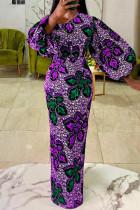 Purple Green Fashion Print Basic O Neck Lantern Sleeve Long Sleeves Long Dress
