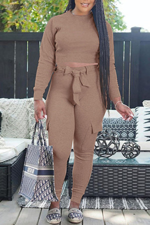 Camel Fashion Casual Solid With Belt O Neck Long Sleeve Two Pieces