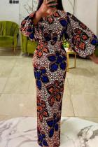 Blue Orange Fashion Print Basic O Neck Lantern Sleeve Long Sleeves Long Dress