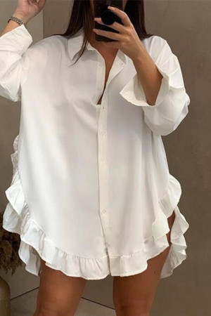White Fashion Casual Solid Asymmetrical Turndown Collar Shirt Dress