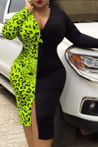 Green Fashion Sexy Print Split Joint V Neck One Step Skirt Plus Size Dresses