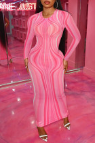 Pink Fashion Sexy Print See-through O Neck Long Sleeve Dresses