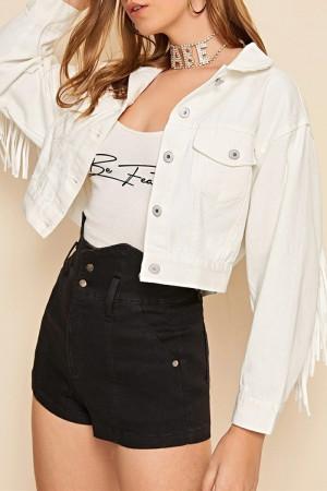 White Fashion Casual Patchwork Tassel Cardigan Turndown Collar Long Sleeve Regular Denim Jacket