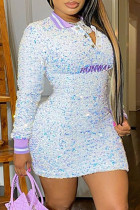 White Fashion Sexy Patchwork Embroidered Sequins Turndown Collar Long Sleeve Plus Size Dresses