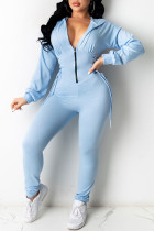 Blue Fashion Casual Solid Bandage Zipper Hooded Collar Skinny Jumpsuits