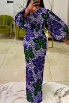 Turquoise Fashion Print Basic O Neck Lantern Sleeve Long Sleeves Long Dress