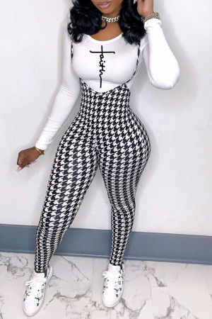 White Fashion Casual Print Basic O Neck Long Sleeve Two Pieces