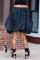 Black Street Print Split Joint Off the Shoulder Lantern Dress Dresses