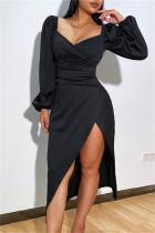 Black Fashion Sexy Solid Slit V Neck Long Sleeve Dresses