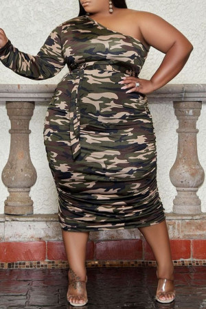 Army Green Fashion Sexy Print Backless Oblique Collar Long Sleeve Plus Size Dresses