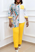 Yellow Fashion Casual Print Split Joint Turndown Collar Long Sleeve Two Pieces