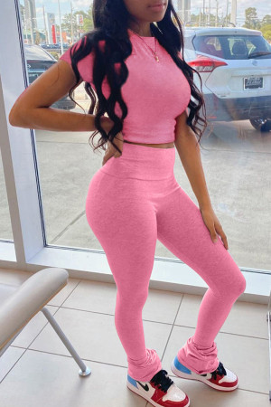 Pink Fashion Casual Solid Basic O Neck Short Sleeve Two Pieces