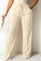 Bare Color Fashion Casual Solid Basic Regular High Waist Trousers