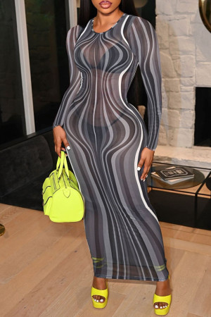 Black Gray Fashion Sexy Print See-through O Neck Long Sleeve Dresses