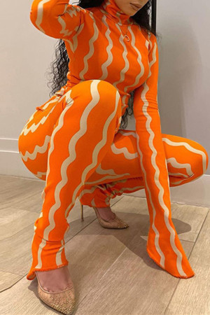 Orange Fashion Casual Striped Print Basic Turtleneck Long Sleeve Two Pieces