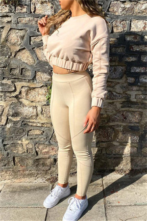 Apricot Fashion Casual Solid Split Joint O Neck Long Sleeve Two Pieces