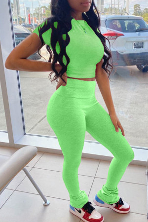 Fluorescent Green Fashion Casual Solid Basic O Neck Short Sleeve Two Pieces