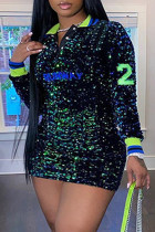 Green Fashion Sexy Patchwork Embroidered Sequins Turndown Collar Long Sleeve Plus Size Dresses