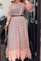 Pink Sexy Patchwork Mesh O Neck Cake Skirt Plus Size Dresses