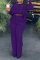 Purple Casual Solid Flounce O Neck Long Sleeve Two Pieces