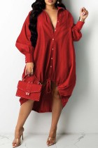Red Fashion Casual Patchwork Basic Turndown Collar Long Sleeve Dresses