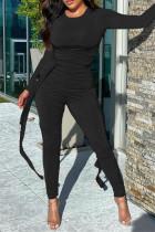 Black Fashion Casual Solid Fold O Neck Skinny Jumpsuits