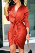 Red Fashion Street Print Split Joint V Neck Irregular Dresses