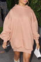 Pink Casual Solid Split Joint Hooded Collar Straight Dresses