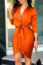 Orange Fashion Street Print Split Joint V Neck Irregular Dresses