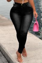 Black Fashion Casual Solid Basic High Waist Skinny Denim Jeans