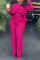 Rose Red Casual Solid Flounce O Neck Long Sleeve Two Pieces