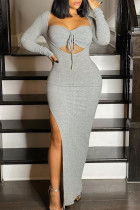 Grey Sexy Casual Solid Bandage Slit Square Collar Long Sleeve Dresses